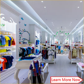 Çin Customized nice design fashion white wooden kids clothing store interior design,kids baby shop design decoration Fabrika