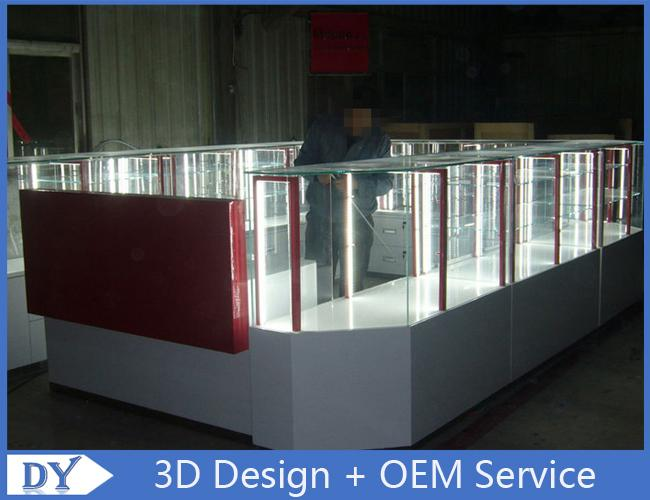 Customize made white wooden tempered glass mobile kiosk for sale